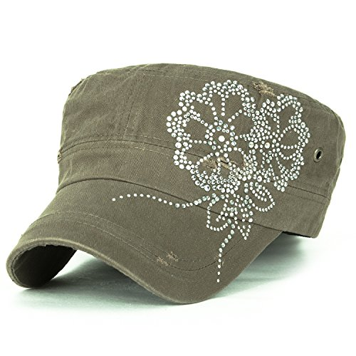 ililily Stud Flower Trim Vintage Distressed Cotton Military Army Hat Cadet Cap, Olive Drab