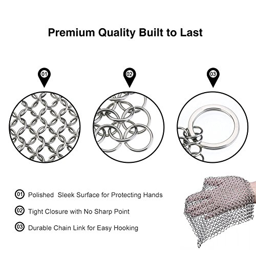 Cast Iron Cleaner Stainless Steel 8x6 Large Chainmail Scrubber for Lodge Cast Iron Skillet, Dutch Oven, Griddle, Grill Pan, Cookware & Pot. Tired of Dirty Sponges? Try Eco-Friendly Cast Iron Scraper! by EcoComely (Image #3)