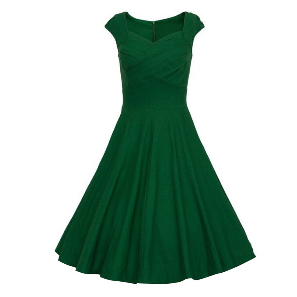 Wotefusi Women 1950s Vintage Cap Sleeve Party Swing Slim Dress Green S
