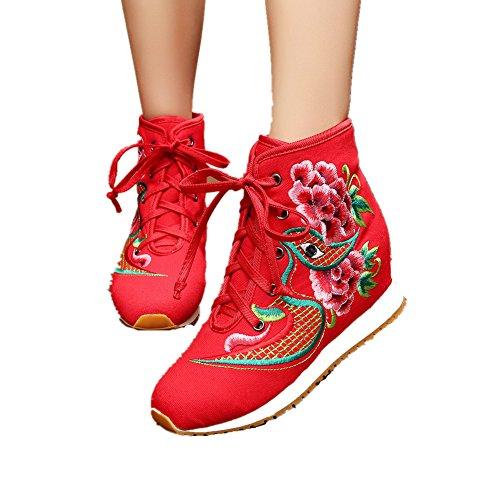 Chinese Embroidery Shoes Chinese style embroidered Canvas sports shoes red