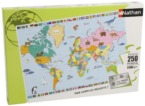 Nathan - 86935 - Puzzle Enfant Classique - Carte du Monde - 250 Pièces