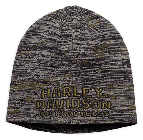 Harley-Davidson Men/'s Oversized Knit-In Graphic Knit Beanie Hat 97814-19VM