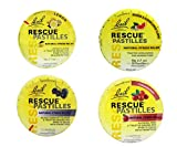 Bach Rescue Pastilles Variety Pack of 4. Contains 1 Tin of Each Flavor. Featured Flavors: Lemon, Cranberry, Black Currant, and Natural. Each Tin Has 50g Pastilles.