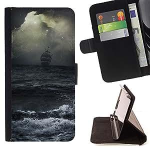 "For Sony Xperia M4 Aqua,S-type Ocean Waves tormenta Vela Barco Piratas"" - Dibujo PU billetera de cuero Funda Case Caso de la piel de la bolsa protectora"