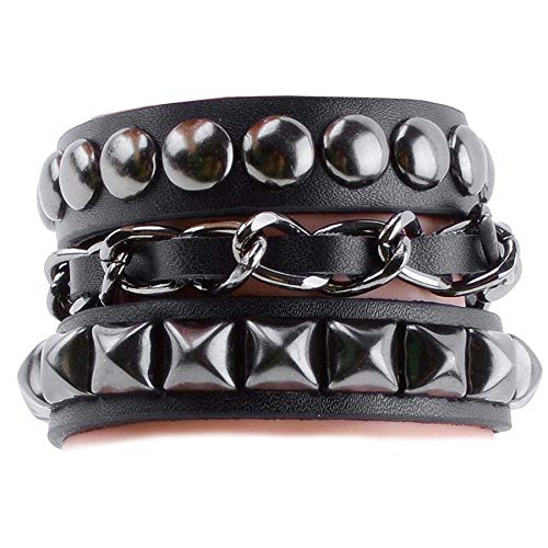 Y-blue Fashion Jewelry Bangle Bracelet Boyfriend Gift Made of Genuine Leather and Alloy 4 Color Black -