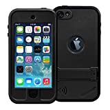 iPod Touch 5 Waterproof Case, iThroughTM iPod touch 5 Waterproof Case with Stand, Dust Proof, Snow Proof, Shock Proof Case, Scratch Protective Carrying Cover Case for iPhone iPod touch 5 (Black)