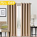 Blackout Window Curtain Panel Grommet Top Drapes 2 Panel Set Room Darkening Thermal Insulated Blackout Drapes for Bedroom (W52 x L84,Cappuccino)