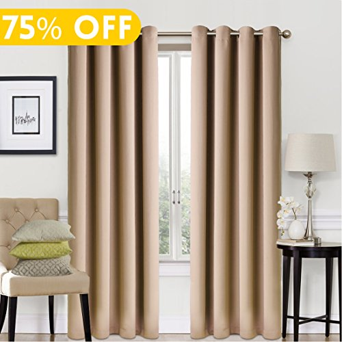 Blackout Window Curtain Panel Grommet Top Drapes 2 Panel Set Room Darkening Thermal Insulated Blackout Drapes for Bedroom (W52 x L95,Cappuccino) - Panels Drapes Set