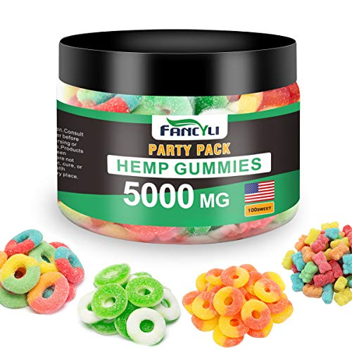 Party-Pack-Hemp-Gummies-Fancyli-5000mg-Stress-Anxiety-Relief-Made-in-USA-Natural-Safe-Oil-Gummies-Mood-Enhancer-Immune-Support-60Sweet-12OZ