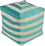Surya PHPF002-181818 100-Percent Cotton Pouf, 18-Inch by 18-Inch by 18-Inch, Beige/Aqua/Teal
