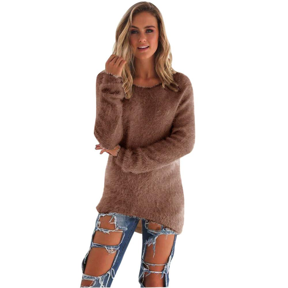 COPPEN Women Casual Solid Long Sleeve Jumper Sweaters Blouse (Coffee, X-Large)