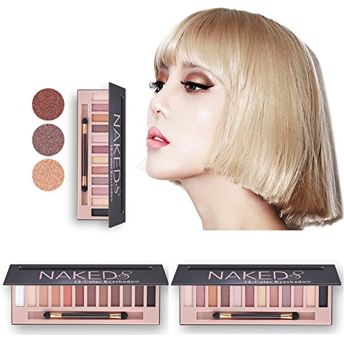 2 pcs 12 Color Naked Palette Eyeshadow Makeup Waterproof Glitter Shimmer Make Up Colors Naked Pigments Professional Eyeshadow Palette