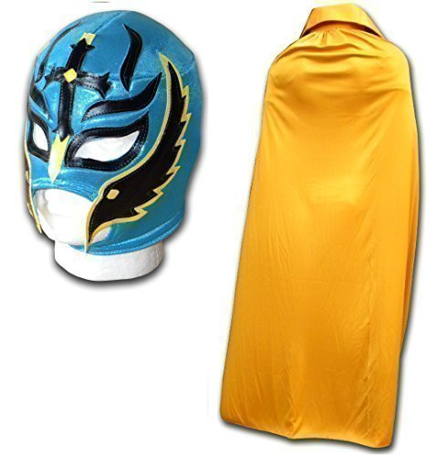 Rey Mysterio Suit (WRESTLING MASKS UK Men's Son Of The Devil With Cape Luchador Wrestling Set One Size Gold)