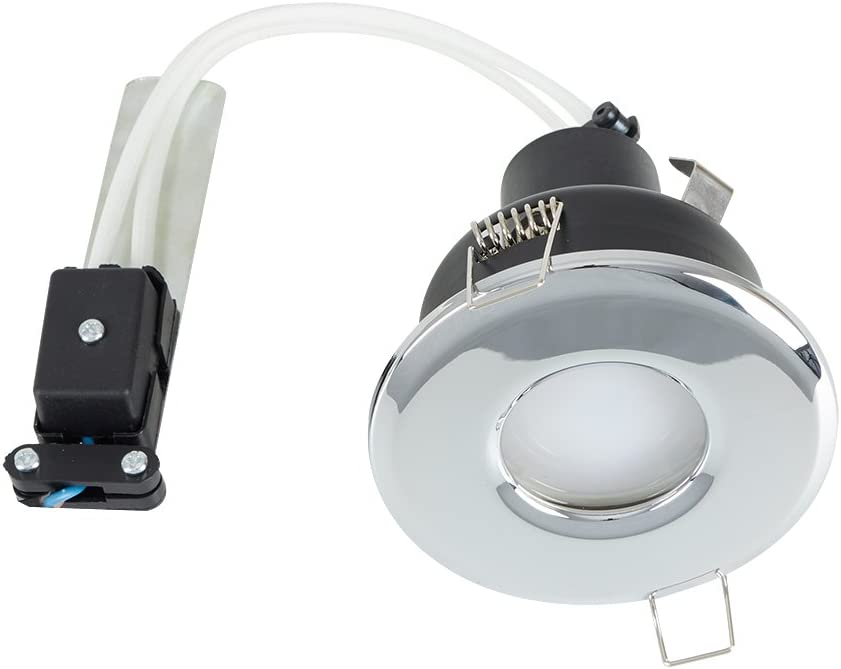 MiniSun Fire Rated Bathroom//Shower IP65 Rated Satin Chrome Domed GU10 Ceiling Downlight Complete With 1 x 5W GU10 Cool White LED Bulb