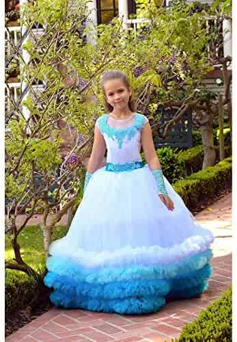 61479dd28b8f TriumphDress Big Girls Blue Multi Triple Row Fluffy Trim Yasmin Flower Girl  Dress 8/10