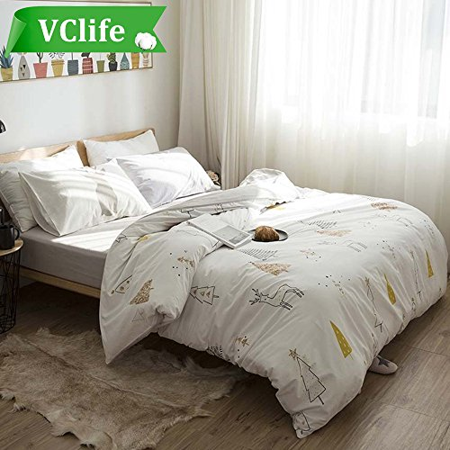 VClife Duvet Cover Twin for Boys Girls, Cream Grey Tree Deer Printed Pattern Reversible, Premium Cotton Comforter Cover Sets for All Season, Ultra Soft, Skin-friendly, Breathable, Lightweight, (Skin Comforters)