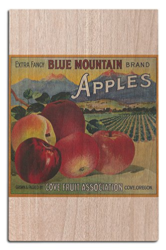 Lantern Press Blue Mountain Apple - Vintage Crate Label (12x18 Wood Wall Sign, Wall Decor Ready to Hang)