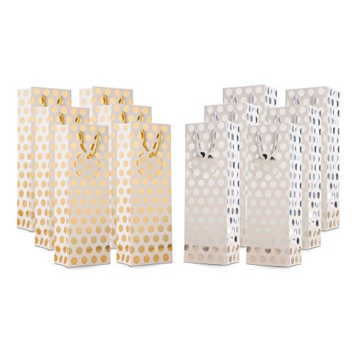 12 Pack Luxury Premium Double Faced Gold Silver Metallic Foil Polka Dot Kraft Wine Carrier Tote Bags with Extra Thick Rope Handle and Matching Gift Note Tag for Liquor, Wrapping Gift, Valentine Day