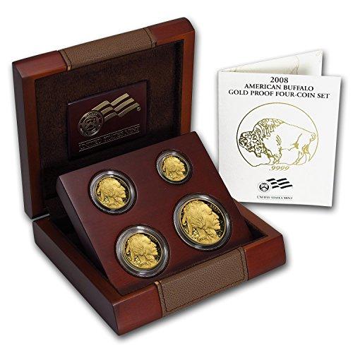 2008 W 4-Coin Proof Gold Buffalo Set (w/Box & COA) Brilliant Uncirculated