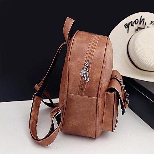 Rivet Widewing Set Backpack Bolsos Casual Marrón Women Negro PU Claro bolsos 3pcs Travistar Mujer Mochilas Compuesto Shoulder wFrxWnqYF