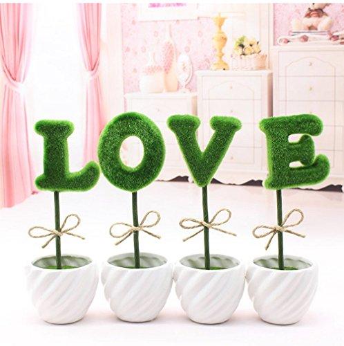 C&LSimulation green planting pot room bedroom TV cabinet desk home furnishings creative wedding room decoration love fake flowers (Green)