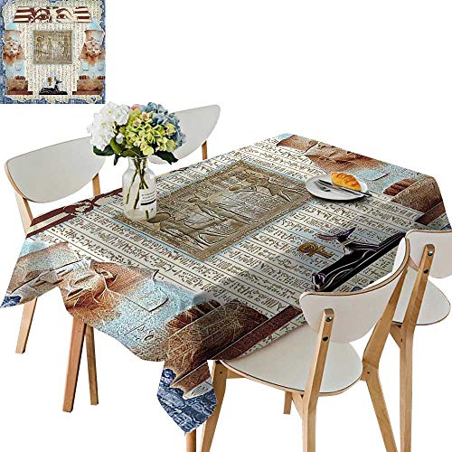 UHOO2018 Polyester Fabric Tablecloth Square/Rectangle Hieroglyph Backdrop Mummy Pyramids Bastet Collage Taupe Navy for Picnic,Outdoor or Indoor,50 x102inch
