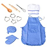 Chef Set for Kids Cooking and Baking Set | 11Pcs Includes Apron, Chef Hat, Mitt, Utensils for Dress Up | Chef Costume Career Role Play Kit Toy for Toddler Boys Girls Ages 3+