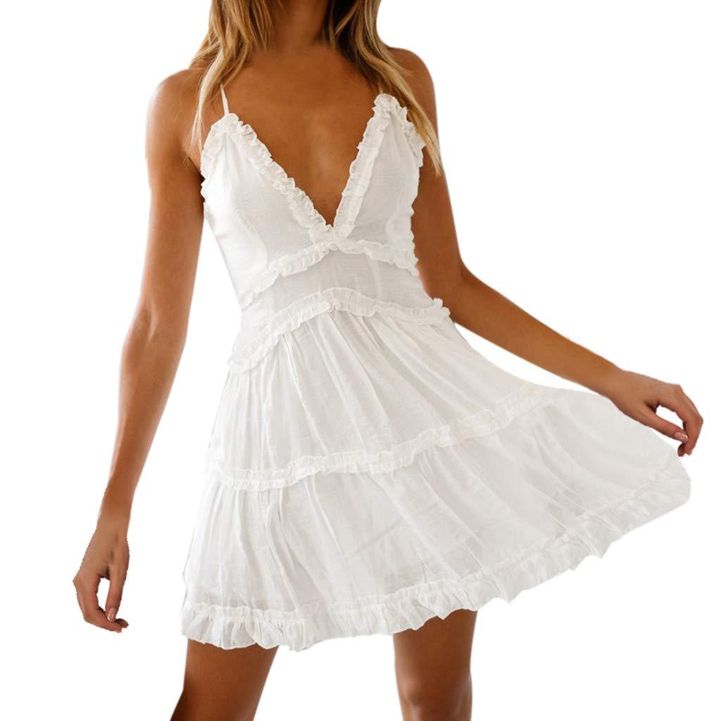 Sunday Damen Strandkleid Sexy V Ausschnitt Sommerkleider Frauen Spitzenkleid Rückenfrei Partykleid A Linie Minikleid