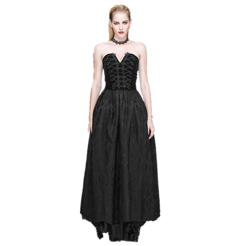 Katoot@ Women Spring Summer Vintage&Retro Royal Gothic Punk Style Elegant Slim Halter Lace Bandage Black Long Dress (XL, Black)