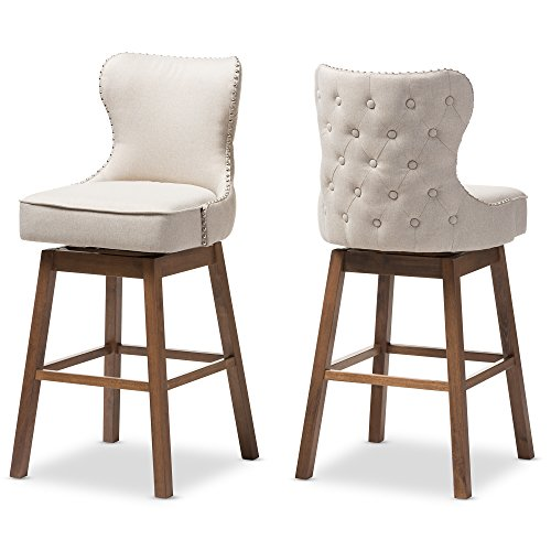 (Baxton Studio 424-7074-AMZ Bar Stool 2-Piece Set, Beige)