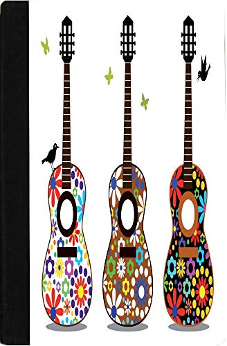 Rikki Knight Hippy 60's Flower Power Guitars Design Black Faux Leather Notebook Case for The Kindle Fire HD ()