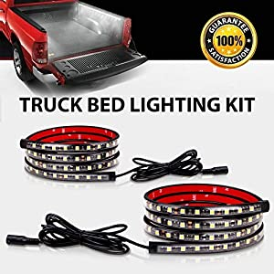 Truck Bed Rail Lights,Derlson Truck Bed Lighting Kit LED Strip Lights with On/Off Switch and Fuse for Trucks, Trailers, Pickups, RVs, Vans and Cargos [ 2x60inch, IP67 Waterproof,Circuit Protection]