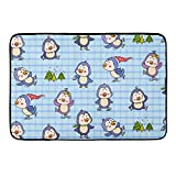 CIGOCI Non-Slip Memory Foam Bath Rugs, 3D Print Interesting and Cute Cartoon Penguins - 18 x 36 Inch, Extra Absorbent,Soft,Duarable and Quick-Dry Shaggy Rugs