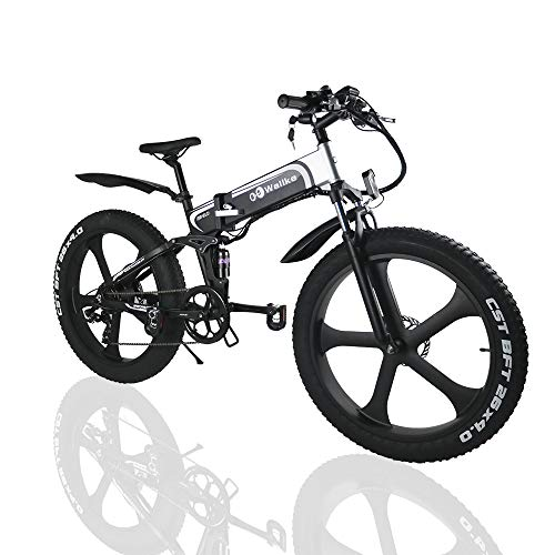 W Wallke Folding Aluminum Electric Bike 48V 10.4ah Removable Battery Fat Tire Snow Mountain Bike 750W Beach Cruiser Adult Assisted E-Bike Double Disc Hydraulic Brake(26 inch)