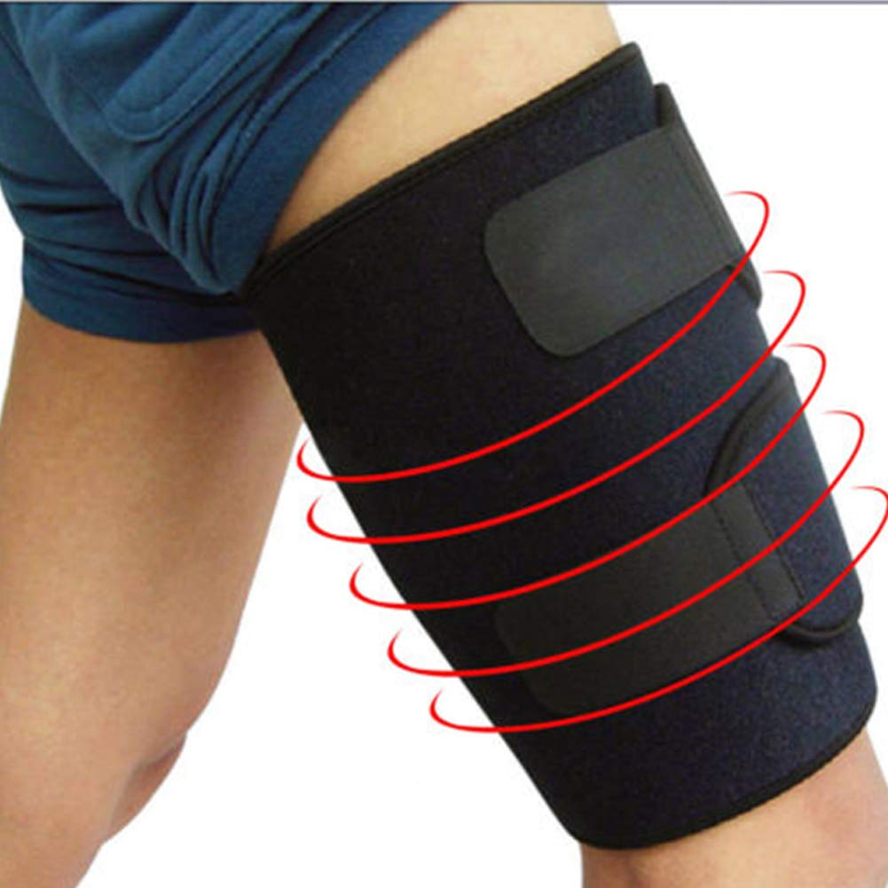 Support Thigh Compression Brace Wrap Sleeve with Non-Slip Velcro for Sore Quad Groin Hamstring Support Women Men TZTED