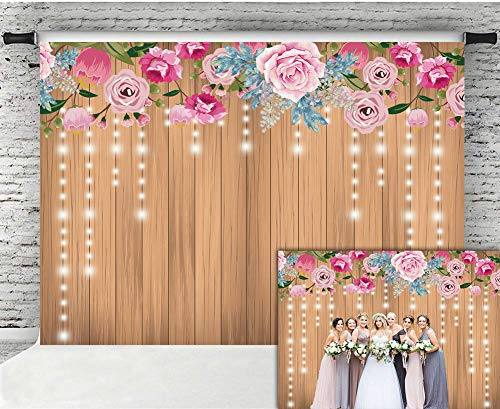 Wooden Wall Decoration - Fanghui 9x6FT Floral Rustic Wooden Wall Photography Backdrop Decoration Glitter Flower Wedding Bridal Shower Baby Newborn Background Birthday Party Banner Photo Booth Props
