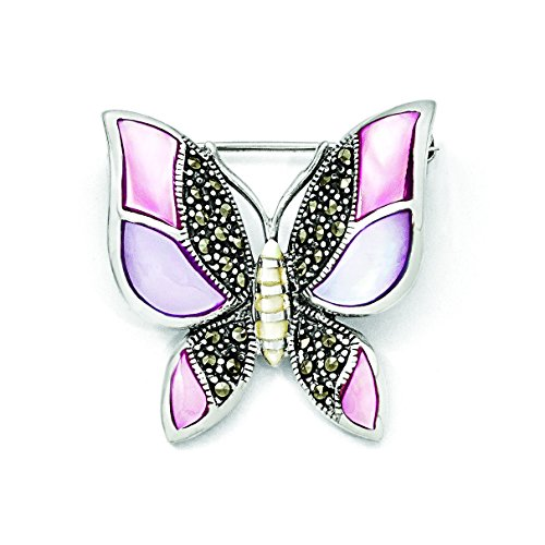 Sterling Silver Marcasite Mother Of Pearl Butterfly Pin ()