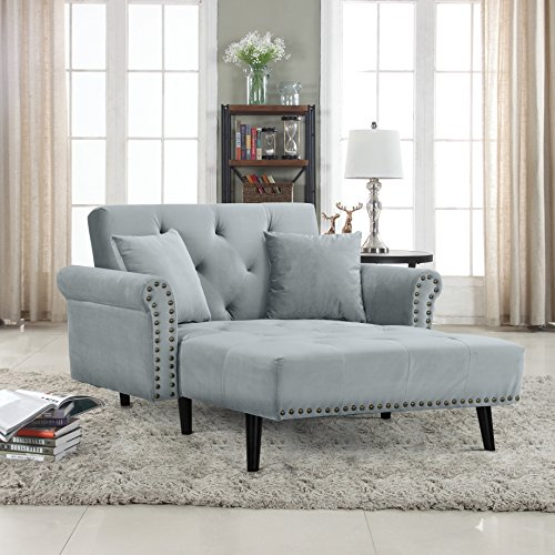 Chaise Loveseat (Divano Roma Furniture Modern Velvet Fabric Recliner Sleeper Chaise Lounge - Futon Sleeper Single Seater with Nailhead Trim (Light Grey))