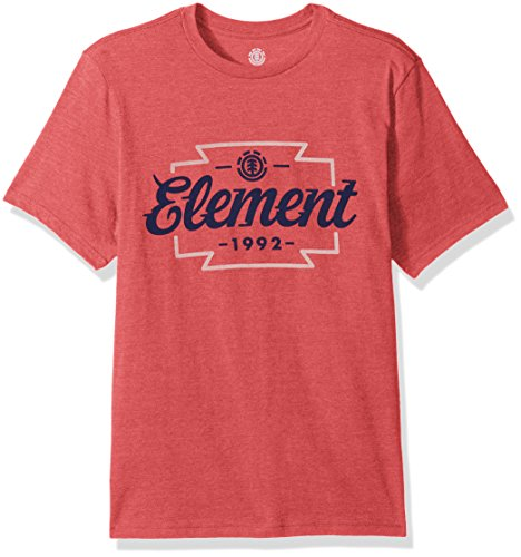 Element Men's Branded Logo T-Shirt Heathered Colors, Wedge Aurora Red Heather, - Red Apparel Aurora
