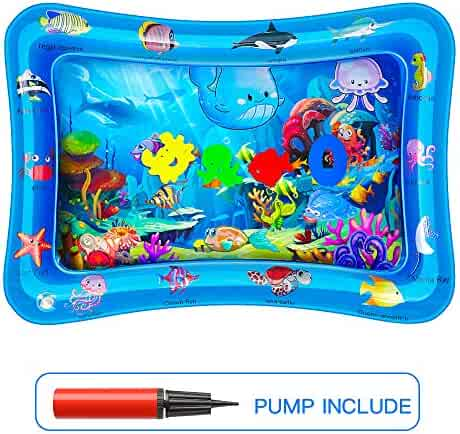 POWOBEST Tummy Time Mat Water Playmat, Sensory Developmental Toys for Babies, Inflatable Baby Infant Floor Play Mat, Baby Gifts, Air Pump Included, BPA Free, CPSC Certified, 3 Months and Up