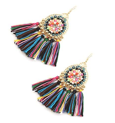 (HSWE Statement Drop Earrings Multicolored Tassel Earrings for Women Handmade Thread Fringe Drop Earrings (multicolor))