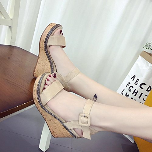 Beige Sandalen Heel Wort LHWY Schuhe Damen Beige Schnalle Plattform Keile Schwarz High Offene Sandalen Wedge Wasserdichte Sommer Zehe ZWSqd6Uxyq