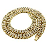 NIV'S BLING - 14K Gold Plated Tennis Necklace - Iced Out 2 Row Chain, 30 inches