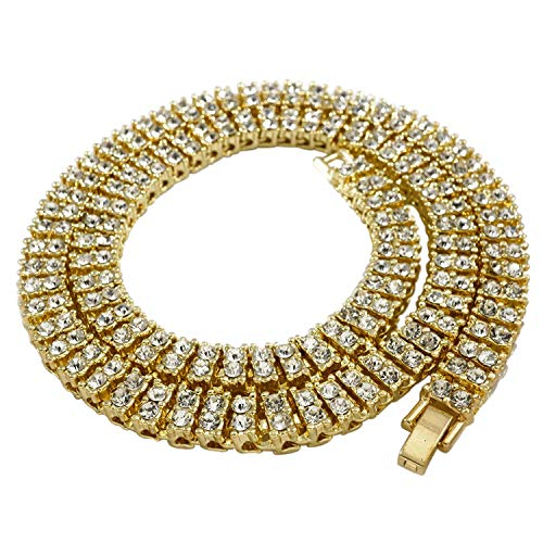 NIV'S BLING - 14K Gold Plated Tennis Necklace - Iced Out 2 Row Chain, 30 inches by NIV'S BLING
