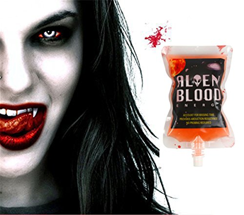 Halloween Party Drinking Blood Bag -AQUEOUSLY 250ML 8.5oz 10 Pack with Funnel Reusable Drink Container for