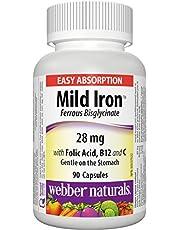 Webber Naturals Mild Iron, Easy Absorption (Ferrous Bisglycinate) 90-Count
