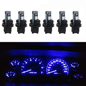 WLJH 6pcs Blue Canbus Error Free T5 37 2721 3030 Chips Instrument Panel Led Light Gauge Cluster Dash Indicator Bulbs with Twist Socket