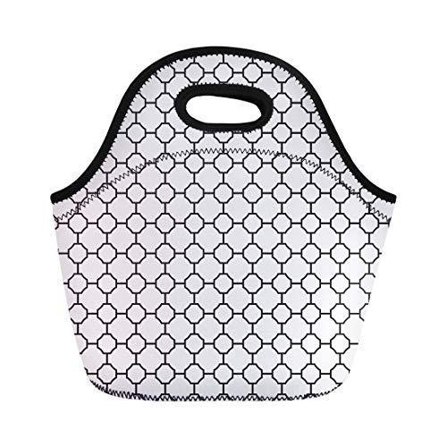 - Semtomn Lunch Tote Bag Trellis Vintage Geometric Lattice Pattern Imperial Antique Antiquity Arabesque Reusable Neoprene Insulated Thermal Outdoor Picnic Lunchbox for Men Women
