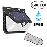 68 LED Solar Lights,Waterproof Wireless Remote Control Outdoor Solar Powered Motion Sensor Security Light With 3 Modes Wide Angle Lighting for Patio,Garden,Yard,Step Stair,Fence,Garage,Deck.