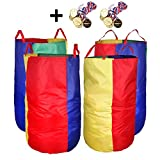DGQ Potato Sack Race Bags 27.5''x35.5'' (Pack of 4) with Game Prizes (Pack of 12) for Students or Adult